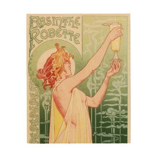 Quadro De Madeira O absinto Robette - poster vintage do álcool