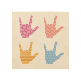 """Quadro De Madeira O ASL """"eu te amo"""" no linguagem gestual colore"""