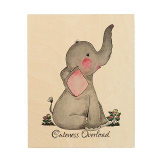 Quadro De Madeira O elefante bonito do bebê da aguarela com cora &