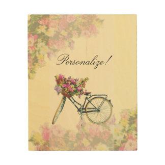 Quadro De Madeira O primavera do vintage floresce a bicicleta