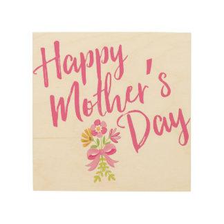 Quadro De Madeira O rosa feliz do dia das mães floresce o presente