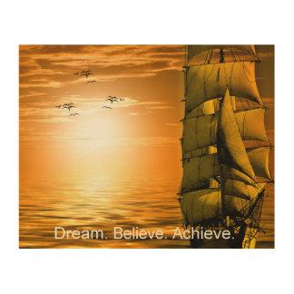 Quadro De Madeira o sonho acredita consegue citações inspiradores