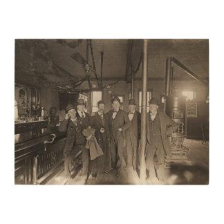 Quadro De Madeira Os homens interiores do bar de bar equipam o bar