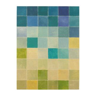 Quadro De Madeira Paisagem com quadrados Pixilated coloridos