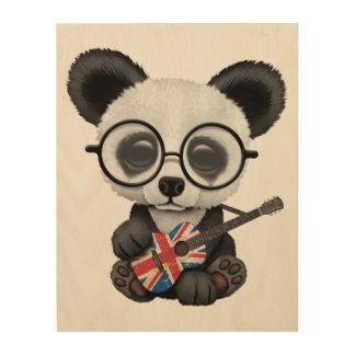 Quadro De Madeira Panda do bebê que joga a guitarra britânica da