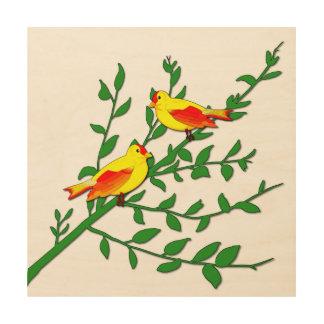 Quadro De Madeira Pássaros da paz