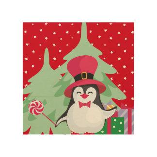 Quadro De Madeira Pinguim festivo com trenó - vermelho