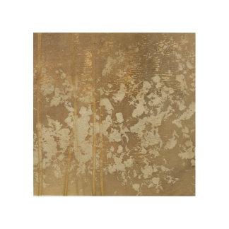 Quadro De Madeira Pintura abstrata do ouro com salpicos de prata