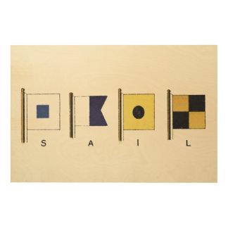 Quadro De Madeira Pintura de quatro bandeiras com a vela escrita