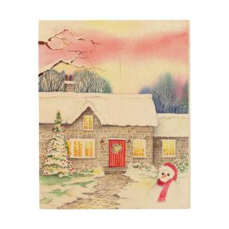 Quadro De Madeira Pintura nevado da aguarela da casa de campo