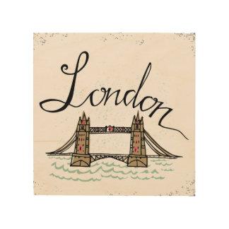 Quadro De Madeira Ponte indicada por letras 5 de Londres da mão