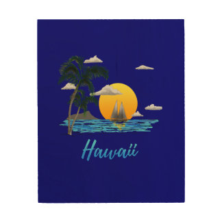 Quadro De Madeira Por do sol da praia de Havaí