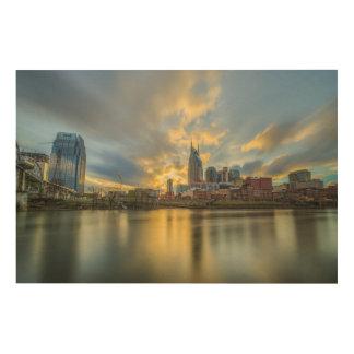 Quadro De Madeira Por do sol de Nashville Riverfron