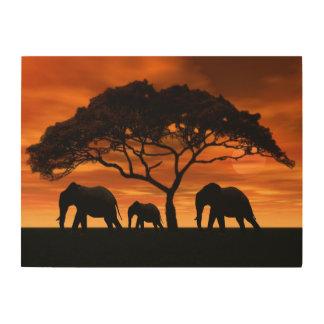 Quadro De Madeira Por do sol do elefante