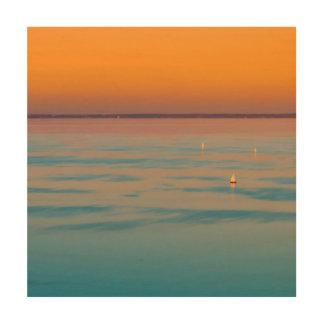 Quadro De Madeira Por do sol sobre o lago Balaton, Hungria