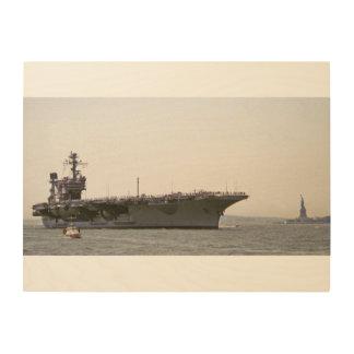 Quadro De Madeira Porta-aviões de JFK que entra no porto de New York