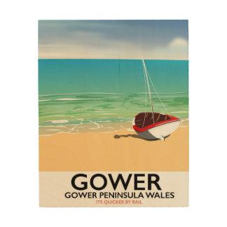 Quadro De Madeira Poster da praia de Wales da península de Gower