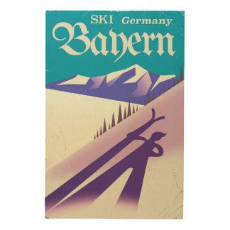 Quadro De Madeira Poster das férias do esqui do vintage de Baviera