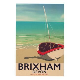 Quadro De Madeira Poster das viagens vintage de Devon da praia de