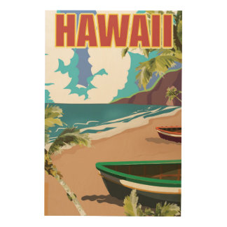 Quadro De Madeira Poster das viagens vintage de Havaí