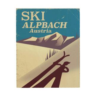 Quadro De Madeira Poster de viagens austríaco do esqui de Alpbach