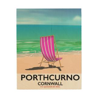 Quadro De Madeira Poster de viagens da praia de Porthcurno Cornualha