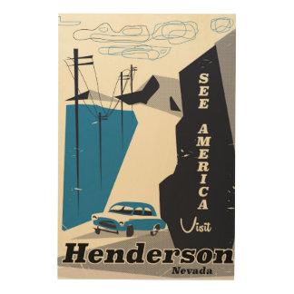 Quadro De Madeira Poster de viagens de Henderson Nevada EUA