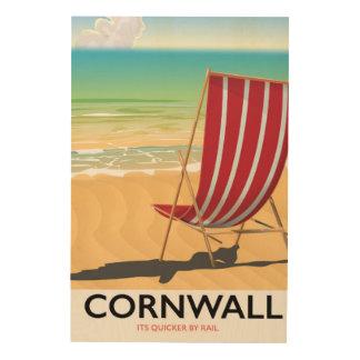 Quadro De Madeira Poster de viagens do clássico da praia de