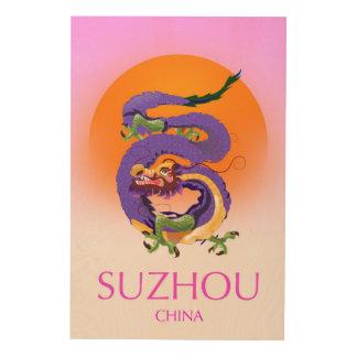 Quadro De Madeira Poster de viagens do dragão de Suzhou China