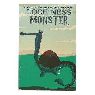Quadro De Madeira Poster de viagens engraçado do monstro de Loch