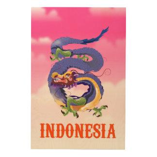 Quadro De Madeira Poster de viagens retro do dragão de Indonésia