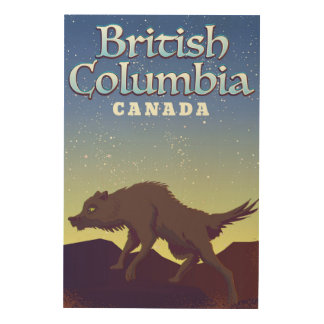 Quadro De Madeira Poster do lobo de Canadá do Columbia Britânica