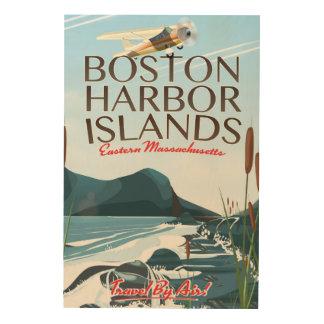 Quadro De Madeira Poster do vôo de Massachusetts do porto de Boston