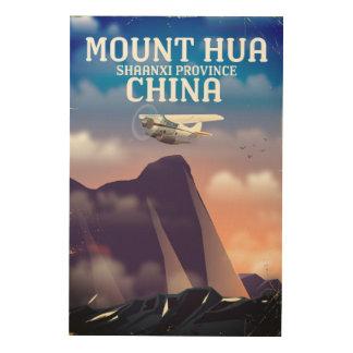 Quadro De Madeira Poster do vôo do vintage de Mount Hua China