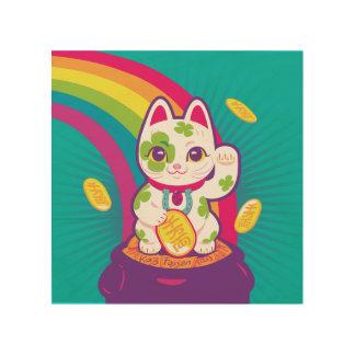 Quadro De Madeira Pote de boa sorte de Maneki Neko do gato de ouro