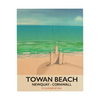 Quadro De Madeira Praia de Towan - impressão do viagem do Sandcastle