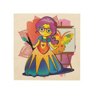 Quadro De Madeira Princesa da arte no impressão de madeira