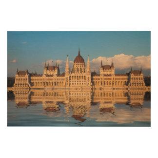 Quadro De Madeira Reflexão do rio da construção do parlamento
