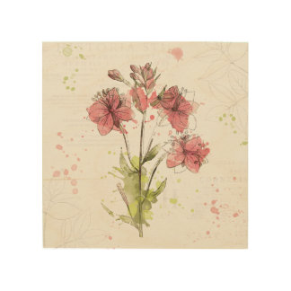 Quadro De Madeira Respingo cor-de-rosa escuro floral