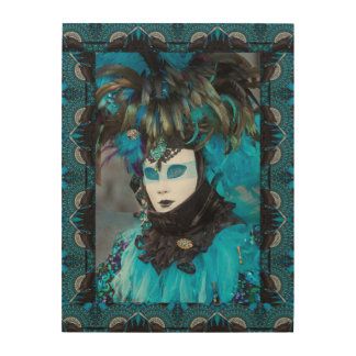 Quadro De Madeira Retrato artístico do traje do carnaval, Veneza