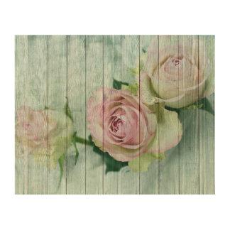 Quadro De Madeira Rosas cor-de-rosa bonito do vintage do chique no