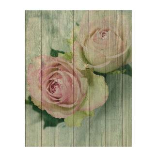 Quadro De Madeira Rosas elegantes do rosa do chique do vintage na