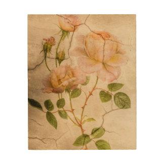 Quadro De Madeira Rosas rosas pálido do chique elegante do vintage