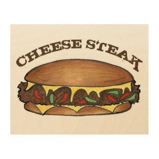 Quadro De Madeira Sanduíche de bife do queijo do Cheesesteak de