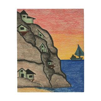 Quadro De Madeira Seascape colorido da vila do cais da arte popular