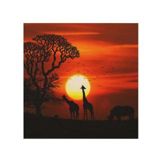 Quadro De Madeira Silhuetas africanas do animal do por do sol do