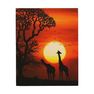Quadro De Madeira Silhuetas africanas do girafa do por do sol do