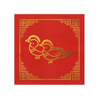 Quadro De Madeira Símbolo dourado de Feng Shui dos patos de