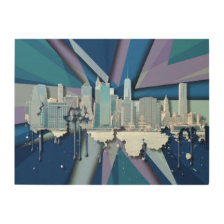 Quadro De Madeira Skyline   3D azul da Nova Iorque