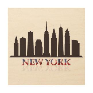 Quadro De Madeira skyline de New York